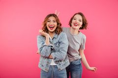 Two ladies friends standing isolated have fun. Stock Photography