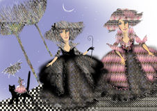 Two ladies in historic costumes standing outside. A mouse in a pink dress is riding a cat, raster illustration over a blue background, children illustration Royalty Free Stock Image