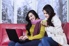 Two ladies using laptop in winter day Stock Photography