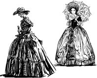Two ladies. Vector image of the women of a 19 th century vector illustration