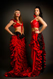 Two lady in gypsy costume dancing flamenco Royalty Free Stock Image