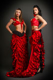 Two lady in gypsy costume dancing flamenco Royalty Free Stock Photography