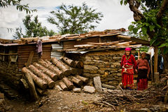 Two lady villagers of the village of Sindhupalchowk after the ear Royalty Free Stock Photography