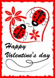 Two ladybugs in heart shape with red flowers - Valentine day postcard with love theme and calligraphic inscription, red grunge fra Royalty Free Stock Photo