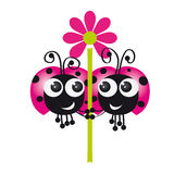 Two ladybugs in love holding flower together. Original funny illustration of two pink ladybugs Royalty Free Stock Images