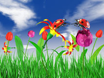 Two ladybugs. Sitting on the flowers on the sky background Stock Photography