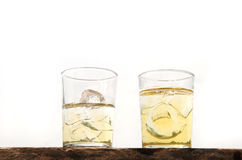 Two lager beer with ice glass Royalty Free Stock Images