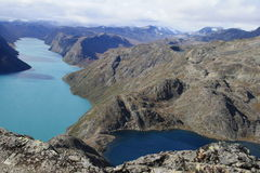 Two Lakes. Look for Gjende and Bessvatnet, hiking in national parks Jotunheimen, Norway Royalty Free Stock Photos