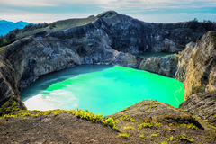 Two lakes at Kelimutu. Two different coloured crater lakes at Kelimutu, Flores, Indonesia Royalty Free Stock Photos