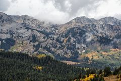 Two Lakes on the Mountain. Autumn landscape in the Wasatch mountains of Utah under stormy sky's Royalty Free Stock Photo
