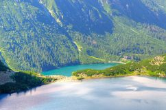 Two lakes in mountains. Royalty Free Stock Images