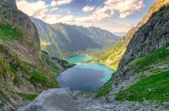 Two lakes in mountains. Stock Image