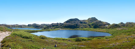 Two Lakes Surrounded By Green Hill Stock Image