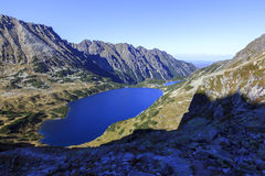 Two  Lakes in a Valley in Tatra Mountains Stock Photo