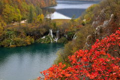 Two lakes and waterfalls in Plitvice National Park Stock Image