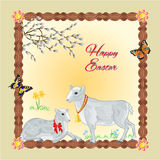 Two lambs easter frame place for text vector Stock Photo