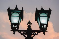 Two Lamp One Clound royalty free stock images