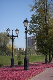 Two lamps in the autumn park. Royalty Free Stock Images