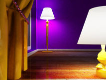 Two lamps on the floor Royalty Free Stock Images