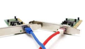 Two LAN network cards  with cable Stock Images