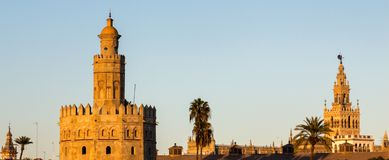 Two landmarks seen from across the river in Seville royalty free stock photos