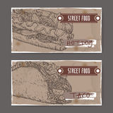 Two landscape banners with hot dog and taco sketch. Royalty Free Stock Image