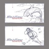 Two landscape banners with scuba diver and jumping whale sketch. Maritime adveture series. vector illustration