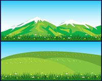 Two landscapes. Vector illustration of the year landscapes with mountain and hill Royalty Free Stock Image