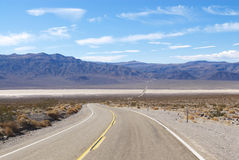 Two Lane Highway Through Desert Landscape Stock Images