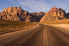 Two Lane Highway Leads to Red Rock Canyon Las Vegas USA Royalty Free Stock Image