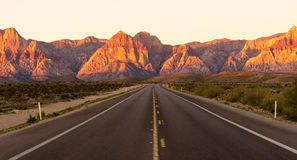 Two Lane Highway Leads to Red Rock Canyon Las Vegas USA Royalty Free Stock Photos