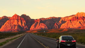 Two Lane Highway Leads to Red Rock Canyon Las Vegas USA stock video footage