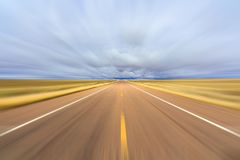 Two lane highway motion blur Stock Photography