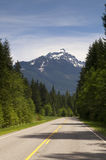 Two Lane Highway Winds Through North Cascade Mountains Washingto Stock Image
