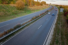 Two lane road. Two lane countryside road at autumn Stock Image