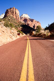 Two Lane Road Mountain Buttes Zion National Park Desert Southwest Stock Photography