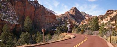 Two Lane Road Mountain Buttes Zion National Park Desert Southwest Royalty Free Stock Photos