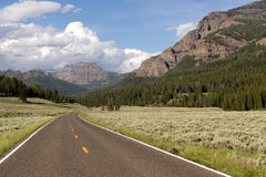Two Lane Road Transportation Yellowstone National Park Wyoming Stock Images