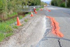 Two Lane Rural Road Collapsing royalty free stock photos