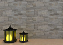 Two lanterns with the light in the room interior in 3D render image Royalty Free Stock Photography