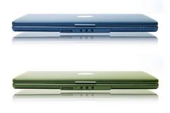 Two laptop. Two stylish laptop. Isolated on white stock photo