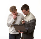 Two with laptop computer Stock Photography