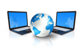 Two Laptop computers around a world globe Stock Photos