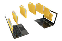 Two laptop computers with folders transferring between each othe. R on a white background Stock Photos