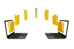 Two laptop computers with folders transferring between each othe. R on a white background Stock Photo