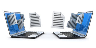 Two laptop and files. Two laptops to transfer the file. 3d illustration Royalty Free Stock Images