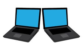 Two Laptop Front View - Modern Glossy Laptop Isolated on White Background royalty free illustration