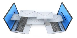 Two laptop and send email letter. 3d illustration royalty free illustration