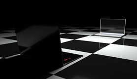 Two laptops on the chessboard. Black and white. Abstraction. 3D graphics Stock Photography
