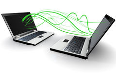 Two Laptops communicating wirelessly Stock Photos